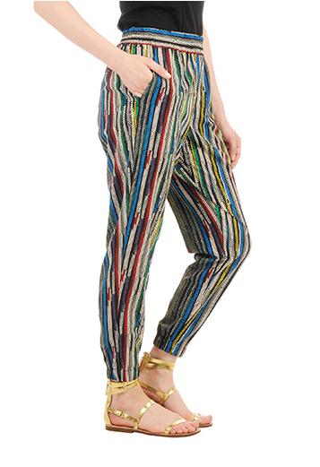 Stripe print crepe jogger pants